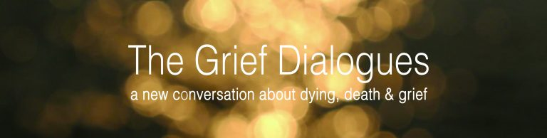 Grief Dialogues logo with Gold Background