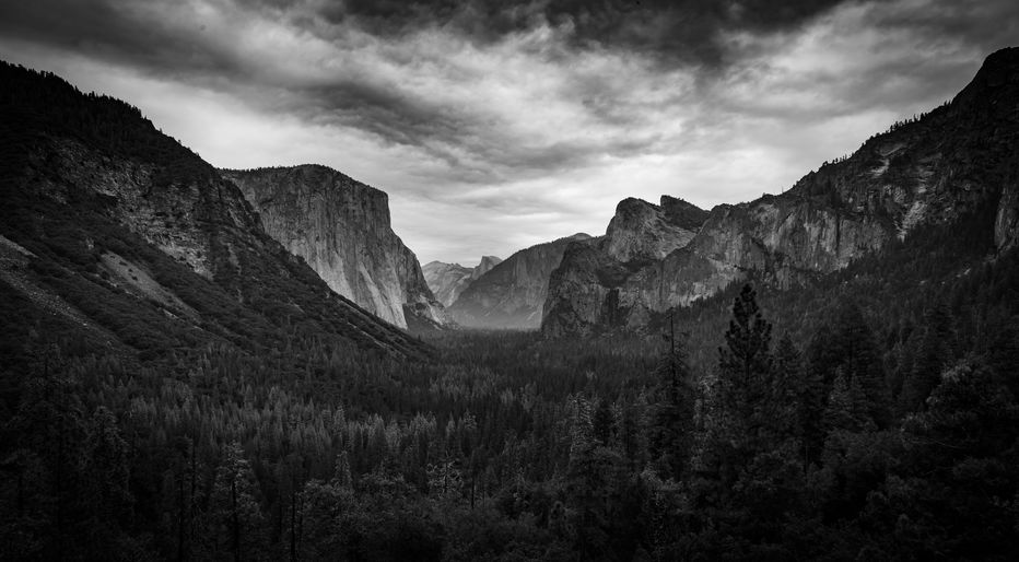 The iconic view of Yosemite Valley and the magnificent El Capitan in a storm from Tunnel View in California, USA